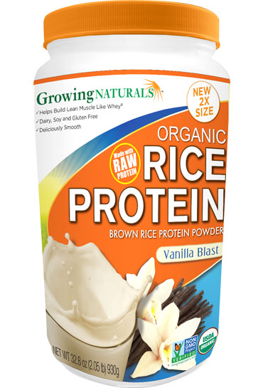 Growing Naturals Rice Protein Isolate Powder Vanilla Blast  465g